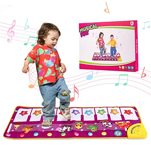 Toddler Piano Musical Mat for 1-3 Years Old Girls ,39.4 Animal Sounds Dance Playmat for Baby Educational Learning Music Toys for 1 2 3 Year Olds
