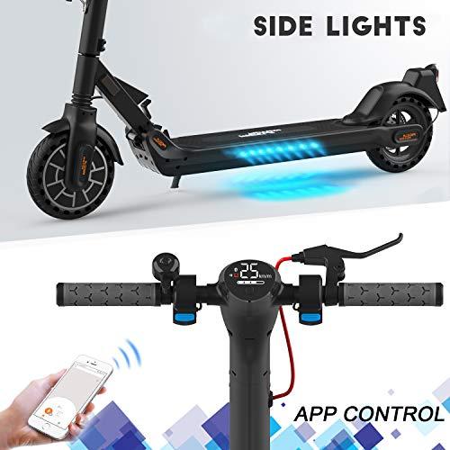 Mega Motion E-Scooter Klappbar Elektroroller Scooter Geschwindigkeit Erwachsene bis 30 Km/h 8.5 Zoll aufblasbares LCD-Display Tragbar Vorderen und Hinteren Rückleuchten(Black) - 4
