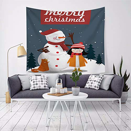 MMHJS European-Style Christmas Snow Scene Christmas Tree Elk Decorative Fabric Printed Pure Color Background Cloth Tapestry Bedroom Living Room Party Holiday Tapestry