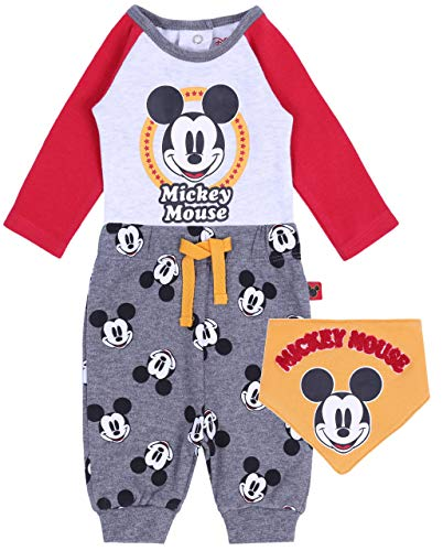 -:- Disney -:- Mickey Mouse -:- Justaucorps + Pantalon + Bavoir Mickey 0-2 Mois