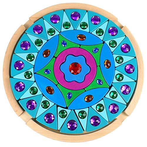 Regenbogen-Puzzleblöcke Aus Holz, Mandala, Diamanten, Edelsteine, Farbenfrohe Kognitive Farben Für Kinder, Lernspielzeug Für Die Frühe Bildung