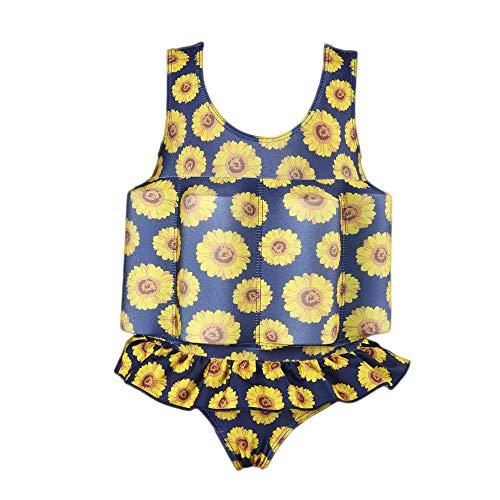 Gifts Treat Kinder Schwimmanzug Baby Junge Mädchen Sonnenschutz Schwimmende Badebekleidung mit einstellbarem Auftrieb UPF 50 (Sonne Blume, XS)