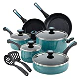 Paula Deen Riverbend Nonstick Cookware Pots and Pans Set, 12 Piece, Gulf Blue Speckle