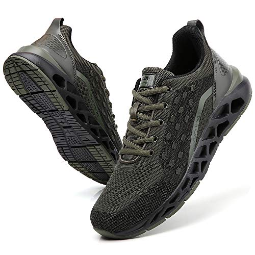 TSIODFO Men Tennis Shoes Size 8.5 for Men Sneakers Size 8.5 Casual Athletic Walking Shoes Gym Runner Fashion Sport Running Shoes Jogging Sneakers Dark Army Green