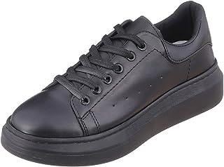 حذاء فاشن سنيكرز باربطة جلد صناعي برباط وجوانب مخرمة للنساء من جرينتا