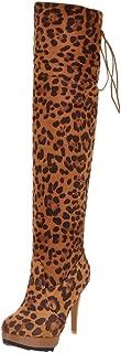 ❤️ Women Thigh High Tall Boots,Platform Leopard Print Lace up Over The Knee Wide Calf Boots Booties Stilettos Pumps