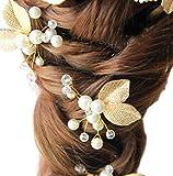 Fashion Jewery Accesorios para el cabello para mujer, joyas para el pelo, pendientes, adorno para el pelo, perlas brillantes, tiara, perlas doradas, hojas de árbol, hojas de árbol, real novia