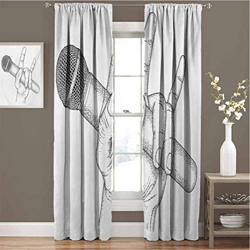 Toopeek Popstar Party Blackout Curtain Set Hand Drawn High Sign for Rock Music Lovers and Microphone Sketch Art Kindergarten Shading Insulation W96 x L72 Inch Black and White