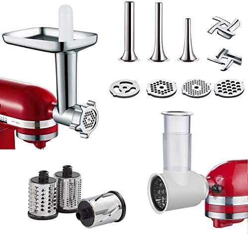 2 in 1 Slicer Shredder Metal Food Grinder Attachments for KitchenAid Stand Mixer Durable Accessory product image