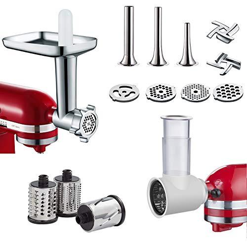 2 PCS Metal Food Grinder & Slicer Shredder Attachments for KitchenAid Stand Mixer, Durable Meat Grinder and Slicer Maker Set By COFUN