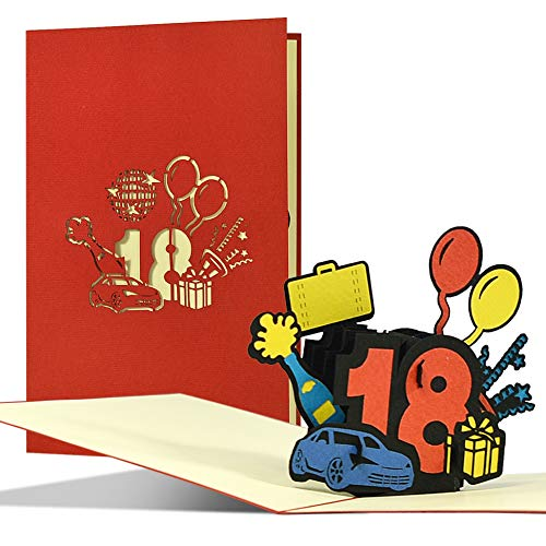 Geburtstagskarte zum 18 Geburtstag | Fröhliche Happy Birthday Karte | Pop Up 3D Glückwunschkarte oder Gutschein zu Geburtstag, Führerschein, G29