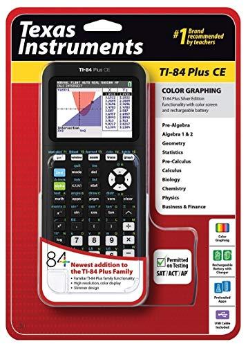 Texas Instruments TI-84 Plus CE Graphing Calculator, Black (Renewed)