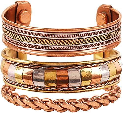 Shah Crafts Juego de 3 pulseras magnéticas de cobre puro hechas a mano | Terapia curativa ajustable Espiritual Yoga Joyería para Unisex