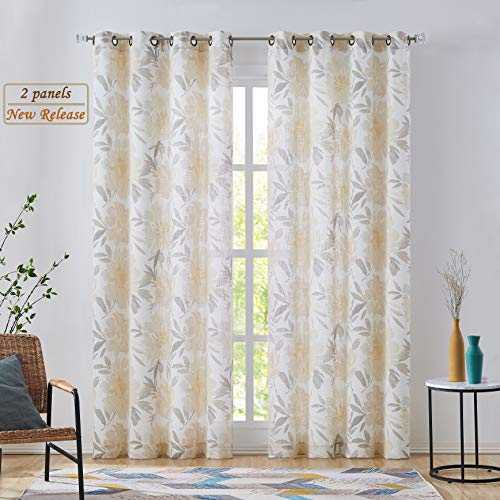 West Lake Floral Window Curtain Panels Yellow and White Flower Leaf Linen Rayon Semi-Sheer Light Filtering Drapes Grommet Top Window Treatments for Bedroom, Dining, Balcony, W52 x L84 inch, 2 Panels