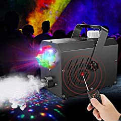 Perfect Atmosphere: The updated fog machine is equipped with a big crystal magic ball to combine the fog and led light together, it is perfect for enhancing atmosphere of holidays, parties, stages, weddings, live concerts, DJ and family gatherings, k...
