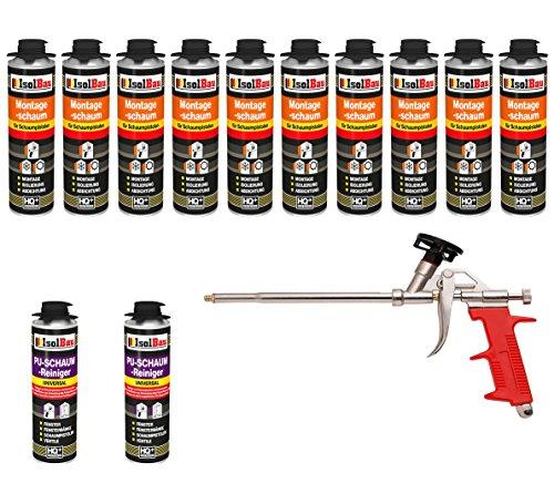SET Pistolenschaum 10 Dose 500 ml Montageschaum 1K Bauschaum PU-Schaum + 2 Reiniger + 1 Schaumpistole