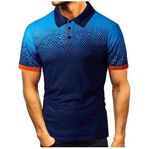 Yowablo Herren Poloshirt Polohemd Shirt Basic Polo Mode Persönlichkeit Casual Slim Kurzarm Bedruckte T-Shirt Top Bluse (XL,2Marine)