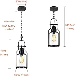 """SUSUO Lighting 6"""" Wide Vintage Industrial Glass Pendant Ceiling Hanging Light with Cylinder Glass Shade,Black Finish"""