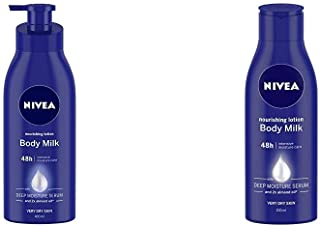 Nivea Nourishing Lotion Body Milk with Deep Moisture Serum and 2x Almond Oil for Very Dry Skin, 400m & NIVEA Nourishing Lotion, Body Milk, 2X Almond Oil, 200ml