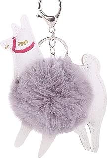 Sanwooden Cute Key Chain Lovely Alpaca Faux Fur Ball Keyring Car Key Chain Women'S Bag Hanging Decor Girl Fashion Accessories