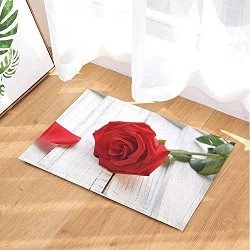 FEIYANG Alfombras de baño para el día de San Valentín de Red Rose en Blanco Tablón de Madera Tapete Antideslizante Entradas de Piso Alfombrilla de Puerta Interior Alfombra de baño para niños 5