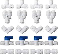 "CESFONJER Watertoevoerleiding universele aansluitset, RO waterfilter fitting, 1/4"" (6mm) Pushfit rechte stekker Pack van 2..."
