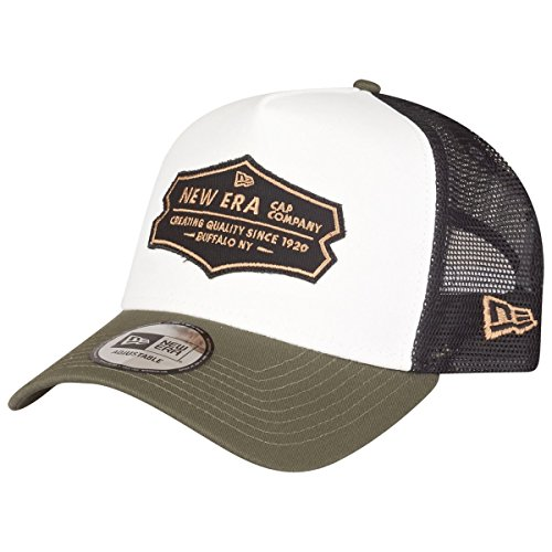 New Era Cap - Adjustable A-Frame Trucker Cap - Distressed Patch - Olive/White - One-Size