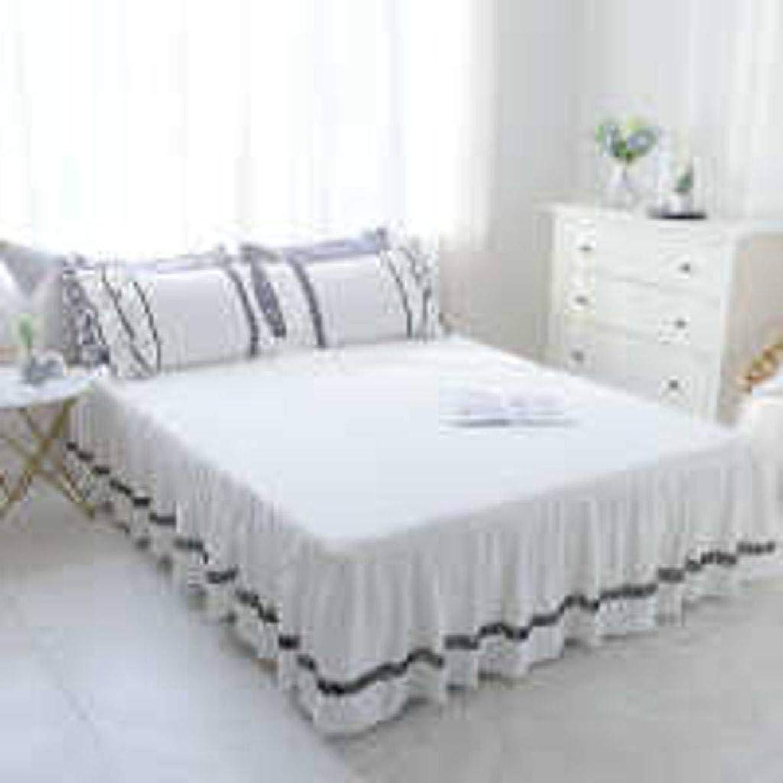 パース等しいコーデリアQXJR 綿 レース製 ベッドスカート,ベッドカバー,ベッド用品,単色,いベッドスカート シングル フリル 装着が簡単 寝具-白-200cmx220センチメートル
