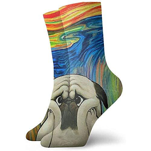 Kevin-Shop leuke vette mops kleurrijke zachte ademende hoge enkels casual sokken dikker onder de knie comfortabele teamsokken