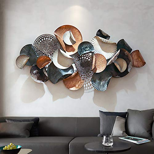 WLHER Metal Iron Wall Decor, Abstract Openwork Lotus Leaf Shape, Light Luxury Metal Creative Wall Hanging, 3D Stereo Design Suitable for Home Living Room/Cafe/Study/Club/Hotel