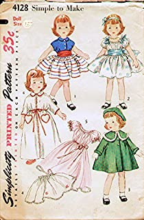 Simplicity 4128 Vintage 1950's Sewing Pattern Featuring Clothing of the Time for Toni Doll Size 21