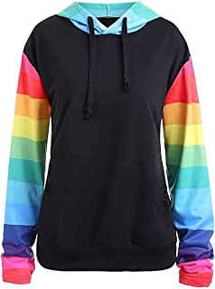 Ulanda Women Fashion Sweatshirts Long Sleeve Rainbow Color Block Stripe Hoodies Pullover Hooded Sweatshirt