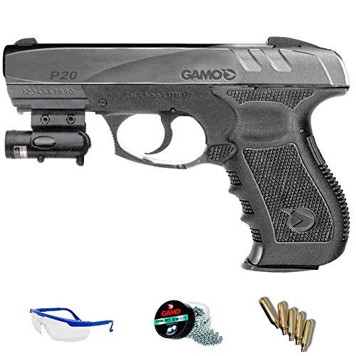 PACK Gamo GP20 Combat LÁSER - Pistola de aire comprimido (CO2) y balines de acero (perdigones) cal 4.5mm. <3,5J