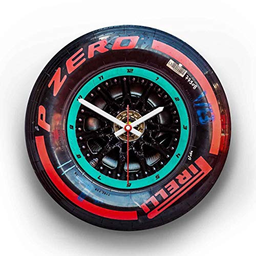 gasoline.gallery Wanduhr Formel1 | Foto-Druck |Motiv: Mercedes - Soft - Hinterrad Ø ca. 30cm