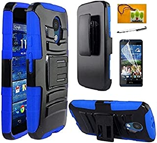 Motorola Moto G (2015 Release, 3rd Gen, XT1540 / XT1548), LF 4 in 1 Bundle, Hybrid Armor Stand Case with Holster and Locking Belt Clip, Stylus Pen, Screen Protector & Wiper Accessory (Holster Blue)