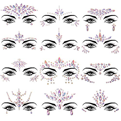 SIQUK 12 Sets Face Jewels Noctilucent Face Gems Luminous Mermaid Temporary Tattoo Stickers Acrylic Face Crystal Stickers for Party Rave Festival