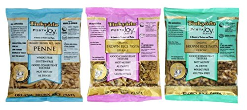Tinkyada Organic GlutenFree Brown Rice Pasta 3 Shape Variety Bundle Elbow Spirals Penne Pasta 12 oz