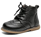 DADAWEN Baby's Boy's Girl's Classic Ankle Boots Lace Up Side Zipper Waterproof Combat Boots Black US Size 6 M Toddler