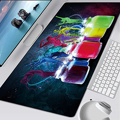 Glorious Mouse pad 3XL 39.3x19.6 inch -Large Extended Gaming Mouse Pad Mat Non-Slip Natural Rubber Base XXL Pink Desk Mat Computer Keyboard for Game Office - Creativity Jungle Landscape Painting