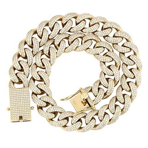Cadena de eslabones cubanos de Oro Idea Jewelry, 18 mm, con Diamantes de circonita cúbica