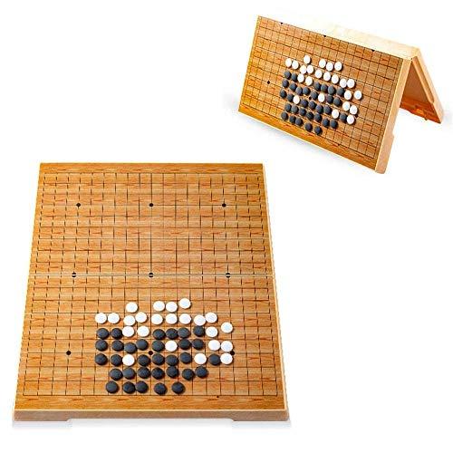 XHH Juego de Tablero de ajedrez Go Juego de Juego Go Juego magnético Juego de Juego Go Juego de Piedras convexas Individuales magnéticas prácticas Viajes (Familia de Entretenimiento de Rompecabezas)