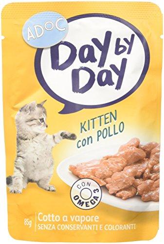 Adoc Day By Day - Alimento Completo per Gattini/Kitten con Pollo, 24 bustine da 85gr