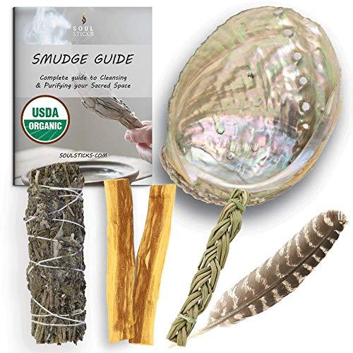 Ancientveda Sage Smudge Kit | USDA Organic Lavender Sage, Sweetgrass Sage, & Palo Santo Stick(s) Smudging Kit for Meditation, Yoga, Reiki, Home Cleansing, & Aromatherapy (Healer's Kit, Lavender Sage)