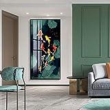 Estilo chino Natación Pez Koi Feng Shui Carpa Lotus Pond Lienzo Pintura Arte de pared moderno Imagen Póster Sala de estar Entrada Dormitorio Oficina Decoración del hogar