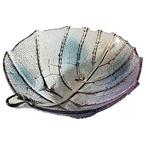 XZJJZ Plato de fruta – Frutero Plato de fruta Ensaladera de vidrio Hoja de fruta Bowl creativo Home Fruta Bowl de cristal Ensalada Bowl