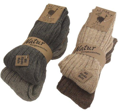 Brubaker 4 Paar Alpaka Socken Multipack 100prozent Alpaka 39-42