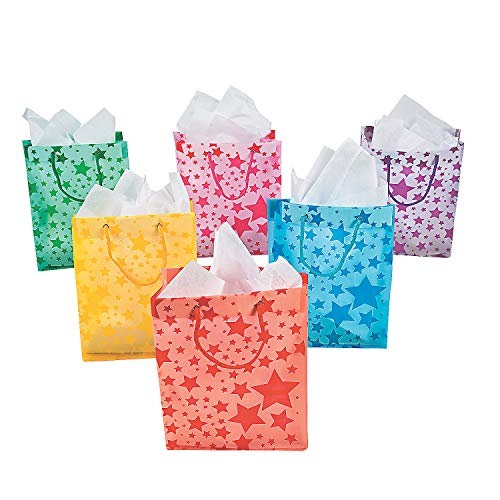 Fun Express - Assorted Color Frosted Star Gift Bag - Party Supplies - Bags - Paper Gift W & Handles - 12 Pieces