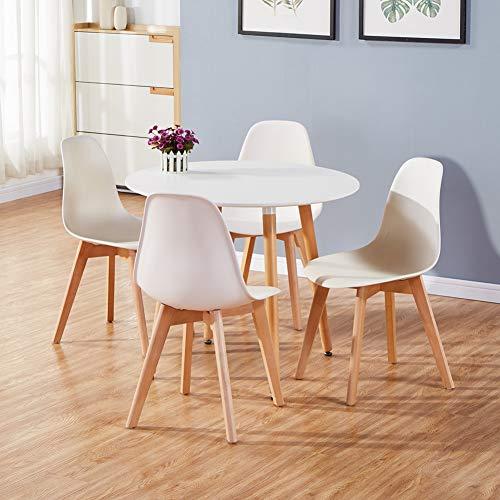 GOLDFAN Moderner Matt Lackierter Runder Esstisch mit 4 Stühlen Geeignet für Esszimmer Küche Wohnzimmer, Weiß& Weiß