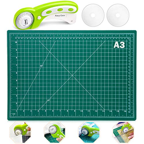 Rotary Fabric Cutter Set, Audab Self Healing Sewing Mat with 45mm Fabric Rotary Cutter and Replacement Rotary Blades for Sewing Fabric Quilting and Crafting