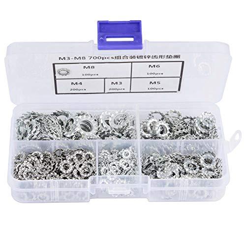 700pcs Galvanized Serrated Tooth Lock Washer Flat Washer Set Fastening Tool M3/M4/M5/M6/M8